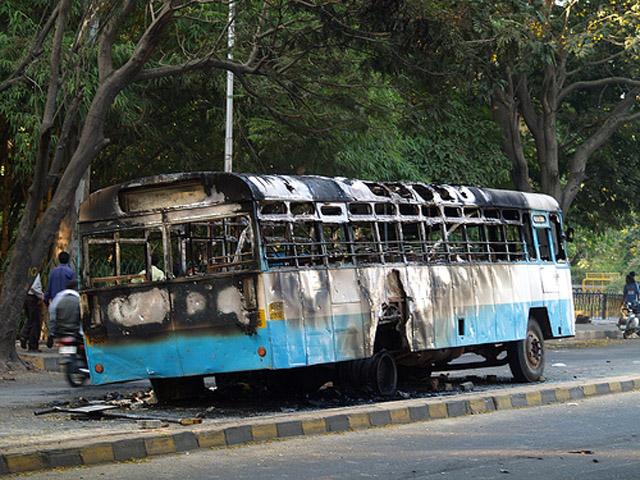 Communal riot, bus burnt