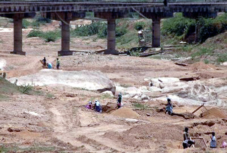 Bridge foundation exposed