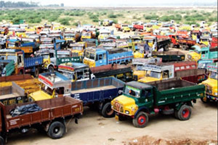 Lorries awaiting loading