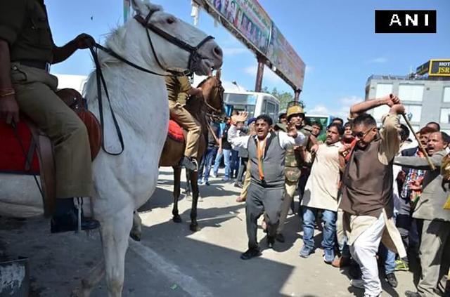 bjp mla breaks police horse's leg 0316