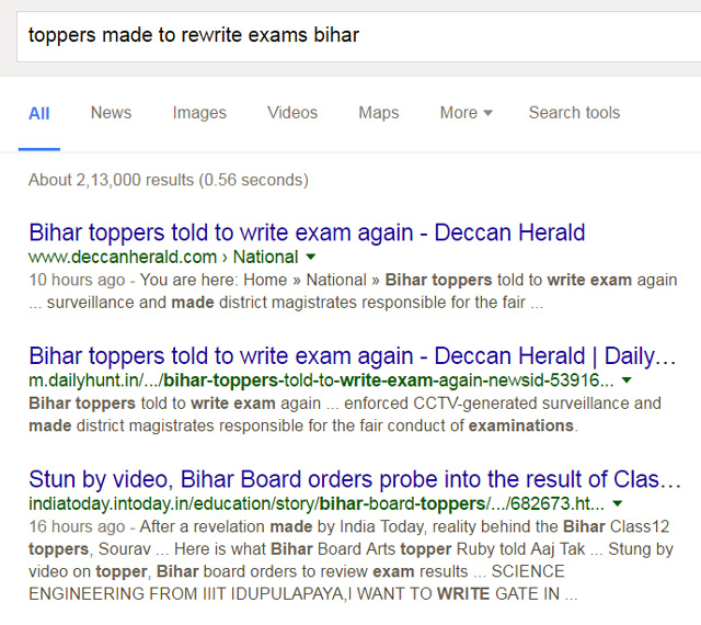 edu bihar toppers rewrite exams