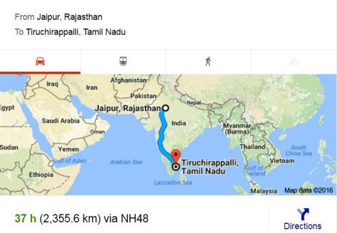 Jaipur to Trichy