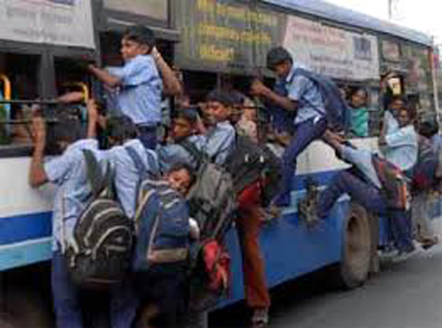 School children and crowded buses